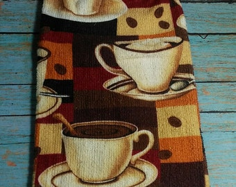 Cups of Coffee Crochet Top Hanging Dish Kitchen Towel