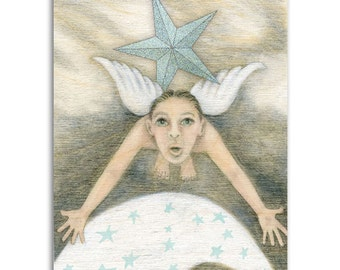 Why Angel, Note Cards - Set of four 5x7 note cards - painting and poem by Claire