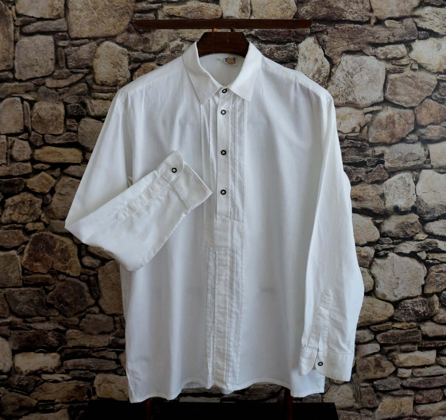 Bavarian men's white shirt thick sturdy by ForgottenSplendors