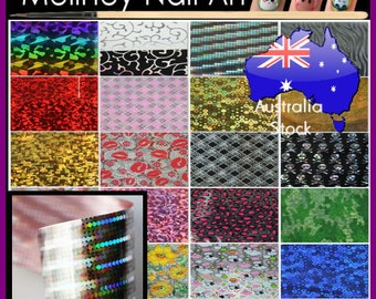 Nail Art Transfer Foils Patterns Manicure Stripe Decor Decoration Flower Camouflage rainbow Holographic Transparent skull
