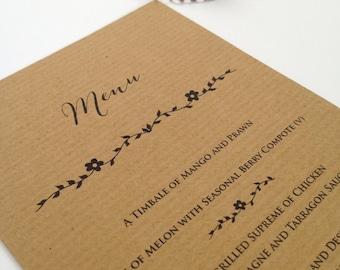 Rustic Menus, Wedding Menus, Rustic Menu Cards