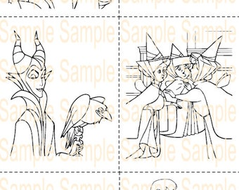 Sleeping Beauty Party Favor Printable Coloring Book Sheet Pages Aurora Maleficent Birthday