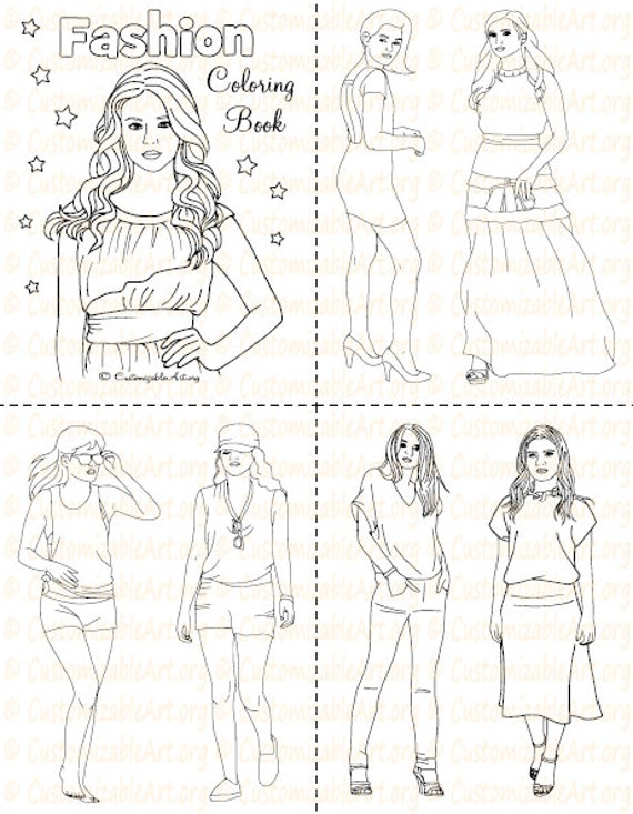 fashion coloring book printable fashion book girl women coloring pages sheets fashionable high fashion woman model imagesgraphic digital pdf - Fashion Coloring Books