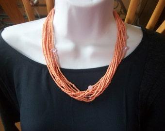 Multi strand necklace ,beads glass