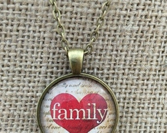 SALE! Family in Heart Glass Pendant Necklace with Chain