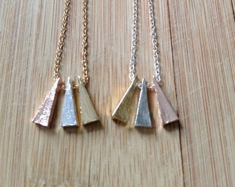 Triangle necklace, Charm necklace, pendant necklace, Geometric necklace, cute necklace in gold or silver