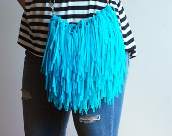 Turquoise Fringe Bag, Eco-Friendly Bag, Boho style Bsg, Small Messenger Bag, Handmade Bag, Shoulder Bag, Crossbody Bag