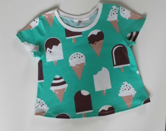 Mint Green Ice-Cream short sleeved tee, Organic cotton jersey, Boy, Girl