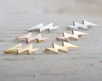 Sterling Silver Ear Cuff Lightning Bolt Ear climber Pin Earrings Boho Jewelry - FES009 T1