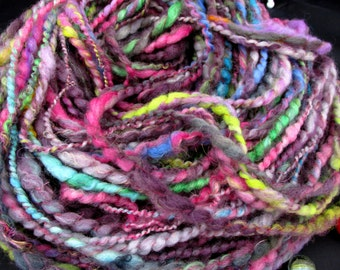 Large Skein of Bulky Chunki Multicolored Soft Wool Handspun Art Yarn,Thick and Thin 2-ply Yarn,Handspun Hand Dyed ,120g/4,23 OZ