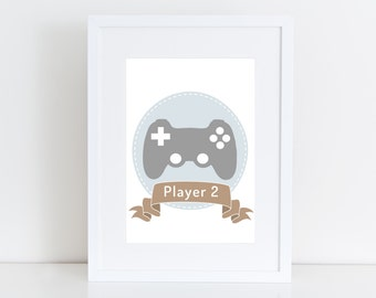 Player 2  - Game art , Printable art , Instant download, Wall deco , Nursery , Playroom kid , boy & girl