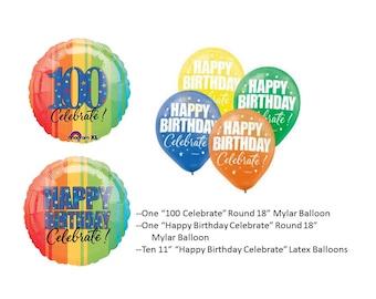 100th Birthday Mylar Balloon with birthday latex balloons