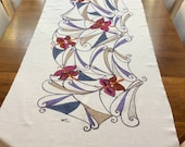 SUPER OFFER!! -25%!! From 80 Eur to 60 Eur! Runner/linen decorative centerpiece hand painted with butterflies pattern design liberty
