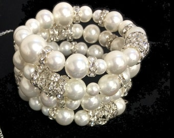 White Shell Pearl Memory Wire Bracelet