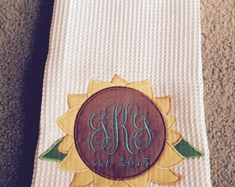 Sunflower Applique Kitchen Towel