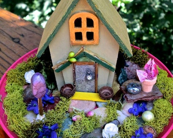 Miniature Fairy Cottage & Garden, Fairies Enchanted Garden House, Fairy Dwelling, Miniature Faerie Garden