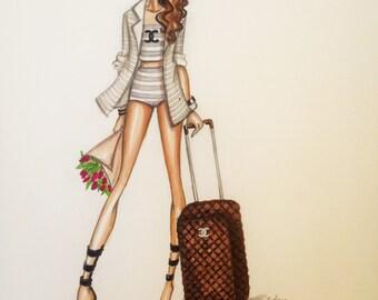 ORIGINAL FashionIllustration-Chanel Girl