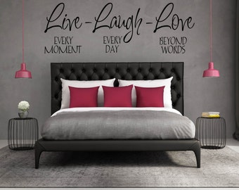 "Home Wall Decal, Wall Decal for Bedroom, Wall Decal Quote, Decals, Vinyl Decal - ""Live-Laugh-Love Family Wall Decal Vinyl Lettering"