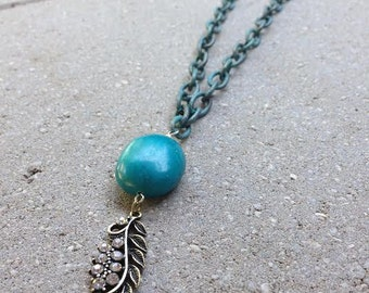 Turquoise Feather Pendant