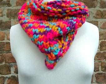 Rainbow snood, triangular rainbow scarf, hand knitted neckwarmer, handmade cowl, knit snood