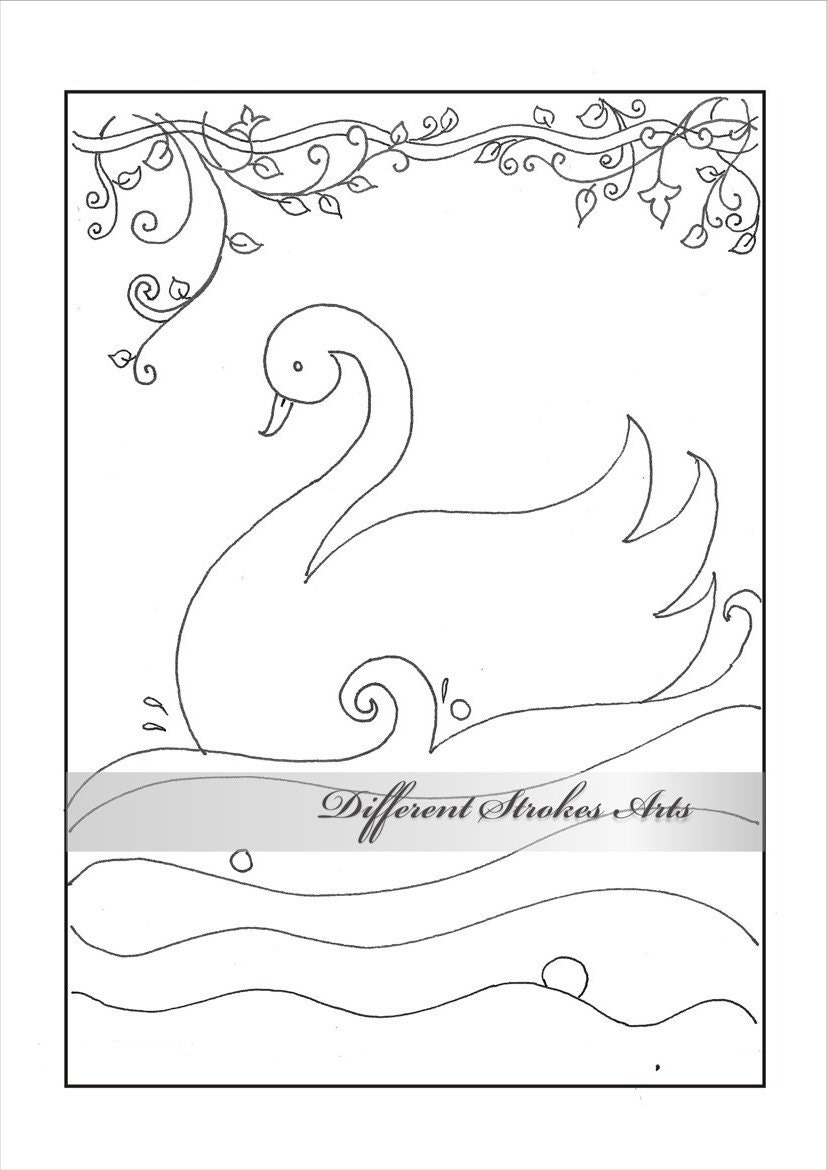 Easy coloring page bird Swan colouring by DifferentStrokesArts