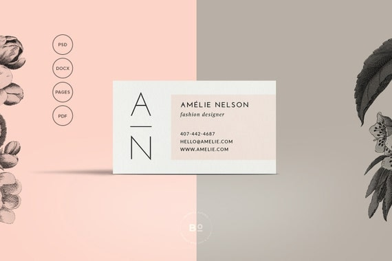 Printable Business Card Premade Business Card Template - Business card template for pages
