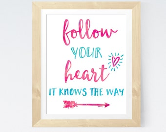 Typographic Art Romantic Print 'Follow your heart, it knows the way' Turquoise Pink Wall Art Heart Print Love Quote Romantic Wedding Gift