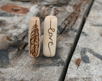 Featherfree in love - 2 wooden dreadlock beads - feather and love dread bead set