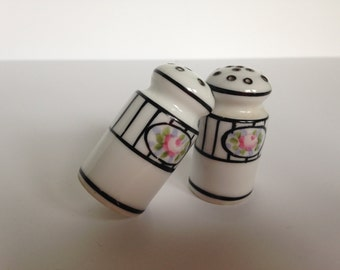 Hand Painted Nippon Salt and Pepper Shakers White with Pink Roses and Black Trim