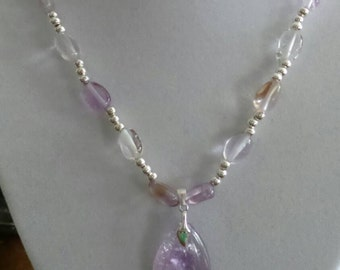 Handmade Ametrine beaded necklace with Ametrine pendant.