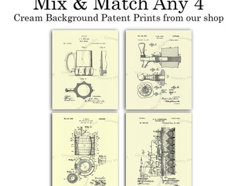 """Any 4 Cream Background Patent Art Prints, choose from sizes 5x7"""", 8x10"""",  11x14"""" or 12x18"""""""