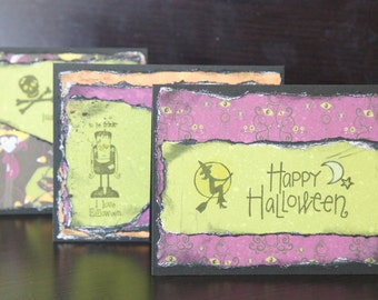 Halloween Card Set 3 Blank Handmade Witch Frankenstein Skull Bright Fun Kids Art Collage Card