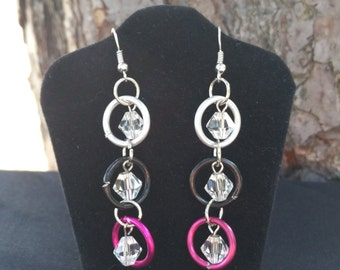 Chain Maille and Crystal Earrings