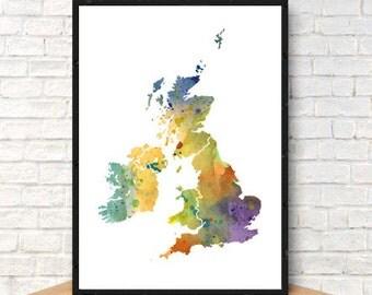 United Kingdom No. 2 Print Watercolor UK Map, Home Decor Watercolor UK Poster, Watercolor UK Painting, Handmade Poster Map Art, Map Poster