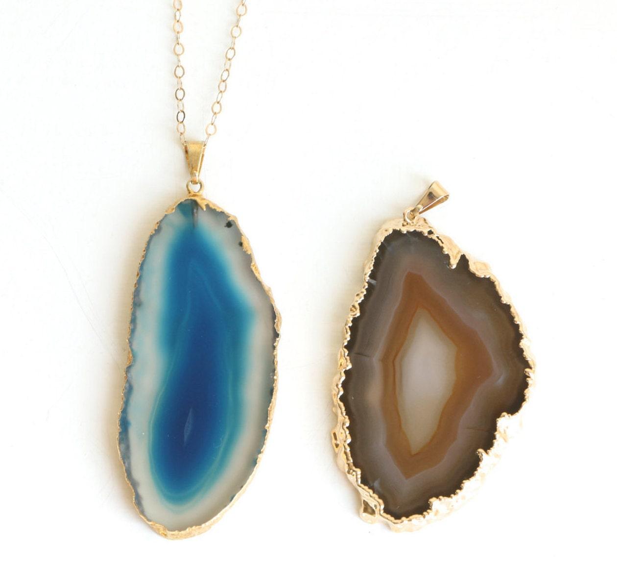 agate slice necklace agate slice pendant necklace geode