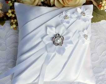 White Satin Ring Bearer Pillow - Wedding Ceremony Accessories - Bridal Ceremony Gift