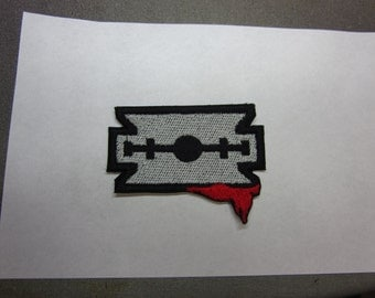 Razor Blade with blood Iron on patch