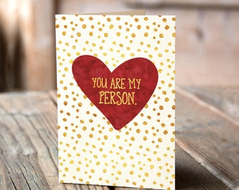 You are my Person Greeting Card, Funny Romantic Card, Valentines Day Card, Humorous Card, Just Because