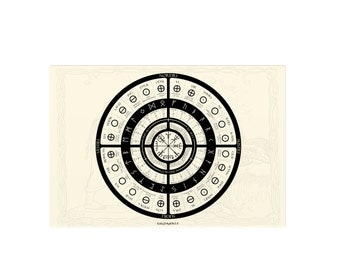 Rune wheel circle chart with 24 futhark with menaning and associated deity, number, element, family etc. DIGITAL DOWNLOAD