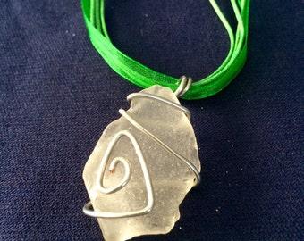 Clear sea glass - green ribbon