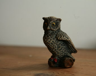 Vintage Hand Painted Owl Figurine - woodland decor for rustic cabin in the woods - mountain owls brown owl hand