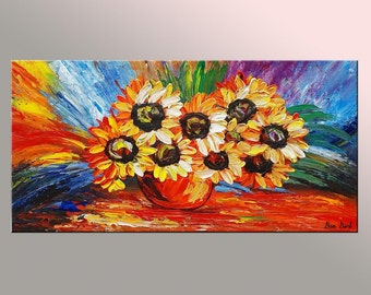 Sunflower Painting, Abstract Art, Abstract Painting, Canvas Oil Painting, Wall Art, Oil Painting, Canvas Painting, Canvas Art, Original Art