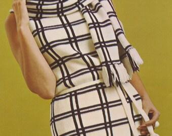 Knit PDF Pattern, Vintage 1960s Plaid/Striped Dress and Stole