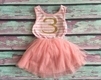 3rd Birthday Tutu Dress, Birthday Dress, Little Girls Birthday Dress, Third Birthday Dress
