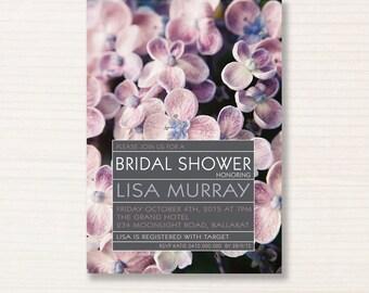 bridal shower invitation -  printable invitation - brown paper invite - old fashioned - devine hydrandra