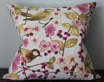 Pink Yellow Brown Floral Bird Pillow Cover