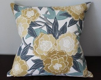 Blue Yellow Floral Pillow Cover