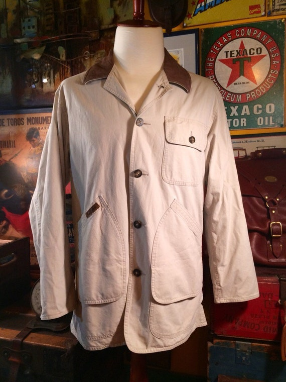 Vintage Ll Bean Barn Jacket Coat With Leather Collar Men S