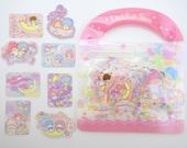 50 Japanese Little Twin Stars Sanrio sticker flakes in a cute purse - kawaii Kiki & Lala - unicorns - moon and stars - sweets and treats