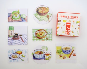 40 Asian cooking kawaii sticker flakes - food emoticon faces - Oriental kitchen - fruits and vegetables - dumplings - sushi - noodles - tea